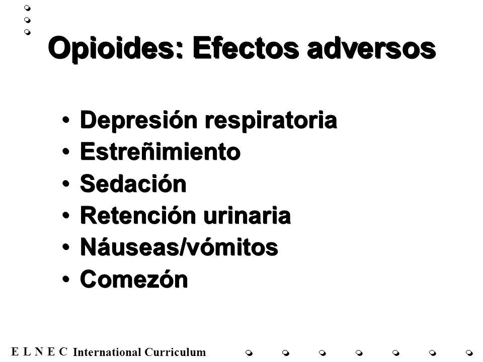 ENECL International Curriculum Opioides: Efectos adversos Depresión respiratoria Estreñimiento Sedación Retención urinaria Náuseas/vómitos Comezón Dep