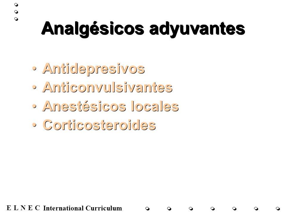 ENECL International Curriculum Analgésicos adyuvantes Antidepresivos Anticonvulsivantes Anestésicos locales Corticosteroides Antidepresivos Anticonvul