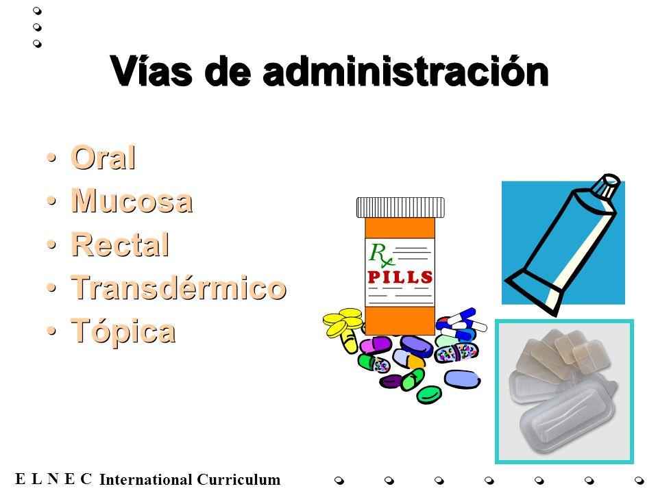 ENECL International Curriculum Vías de administración Oral Mucosa Rectal Transdérmico Tópica Oral Mucosa Rectal Transdérmico Tópica