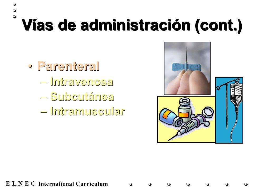 ENECL International Curriculum Vías de administración (cont.) Parenteral –Intravenosa –Subcutánea –Intramuscular Parenteral –Intravenosa –Subcutánea –