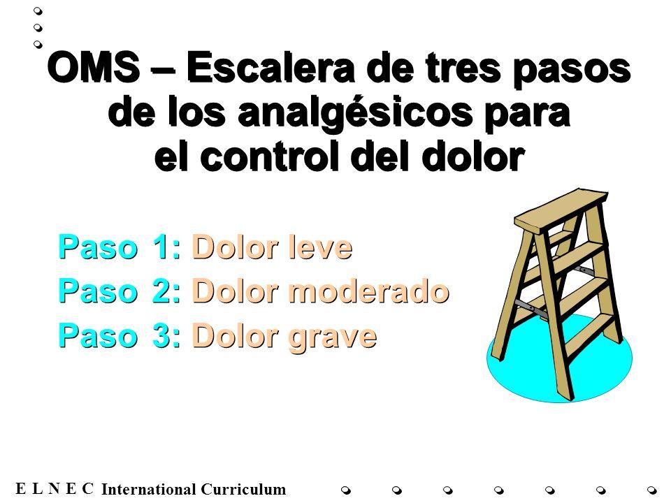 ENECL International Curriculum OMS – Escalera de tres pasos de los analgésicos para el control del dolor Paso 1: Dolor leve Paso 2: Dolor moderado Pas