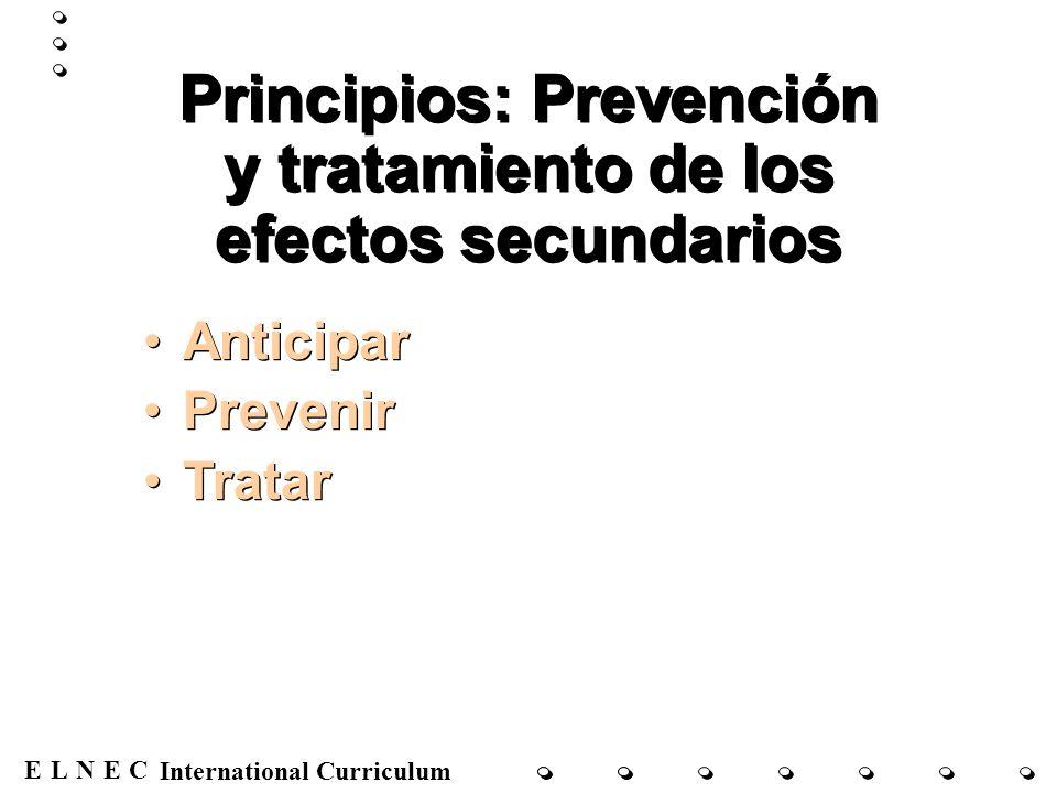 ENECL International Curriculum Principios: Prevención y tratamiento de los efectos secundarios Anticipar Prevenir Tratar Anticipar Prevenir Tratar