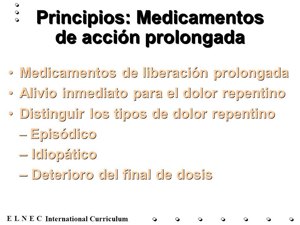 ENECL International Curriculum Principios: Medicamentos de acción prolongada Medicamentos de liberación prolongada Alivio inmediato para el dolor repe