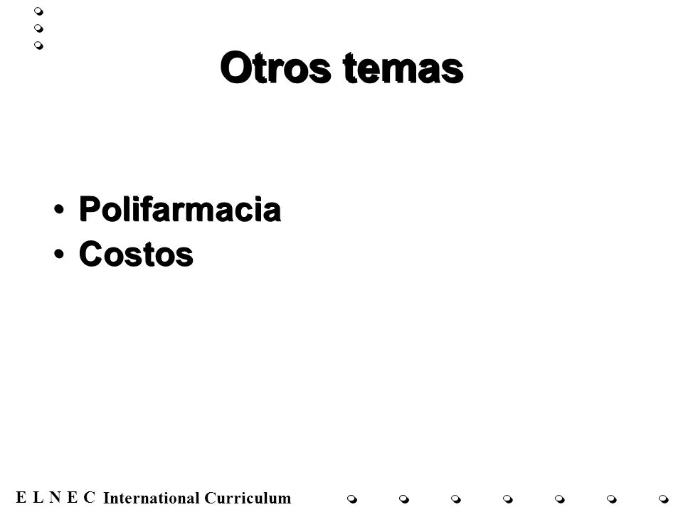 ENECL International Curriculum Otros temas Polifarmacia Costos Polifarmacia Costos
