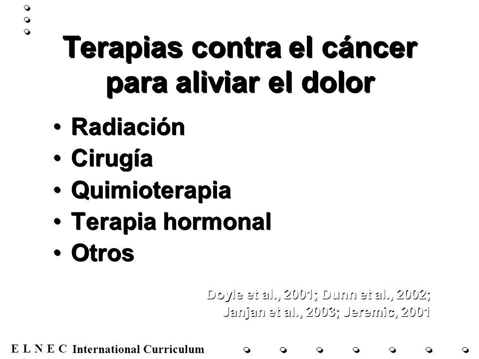 ENECL International Curriculum Terapias contra el cáncer para aliviar el dolor Radiación Cirugía Quimioterapia Terapia hormonal Otros Doyle et al., 20