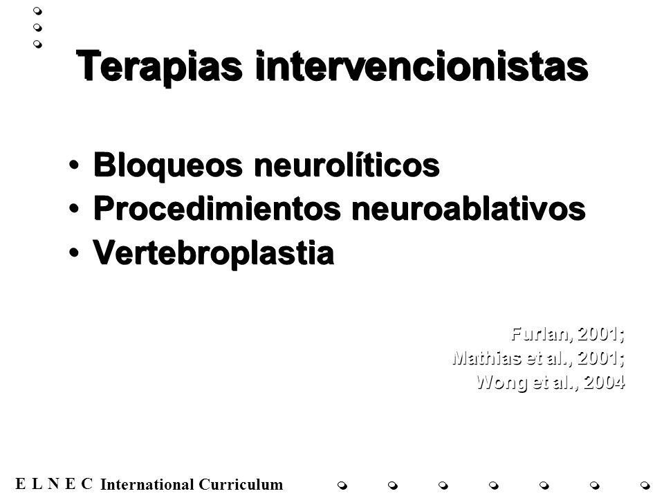 ENECL International Curriculum Terapias intervencionistas Bloqueos neurolíticos Procedimientos neuroablativos Vertebroplastia Furlan, 2001; Mathias et