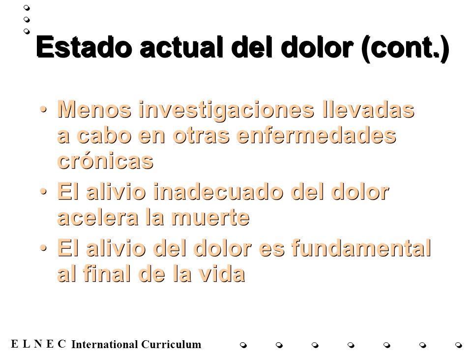 ENECL International Curriculum Estado actual del dolor (cont.) Menos investigaciones llevadas a cabo en otras enfermedades crónicas El alivio inadecua