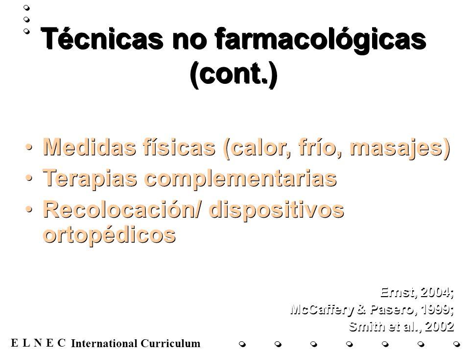 ENECL International Curriculum Técnicas no farmacológicas (cont.) Medidas físicas (calor, frío, masajes) Terapias complementarias Recolocación/ dispos