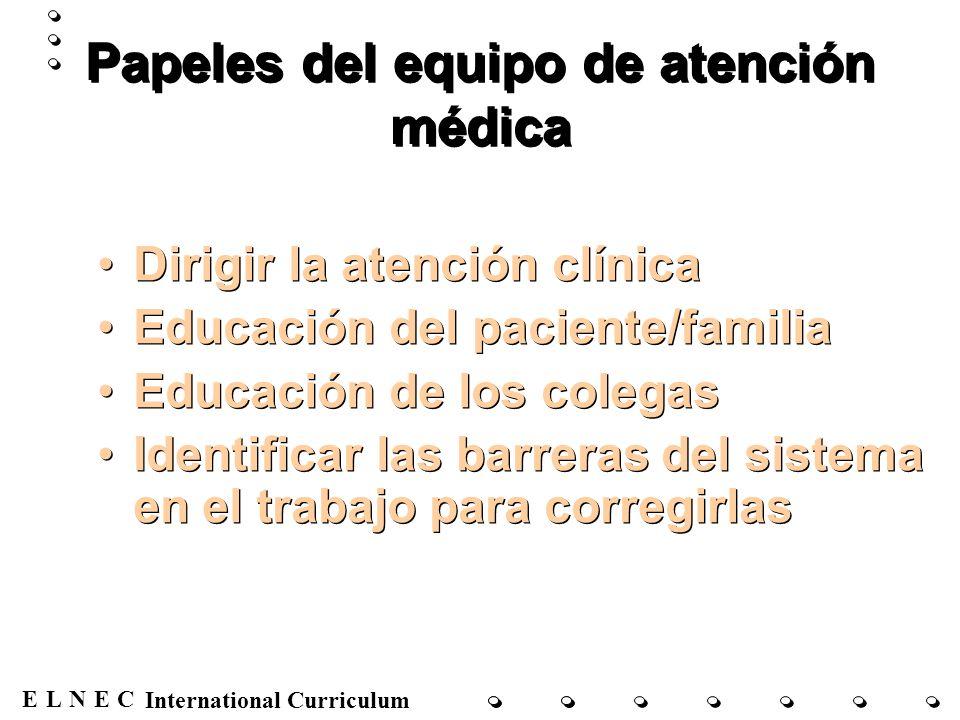 ENECL International Curriculum Papeles del equipo de atención médica Dirigir la atención clínica Educación del paciente/familia Educación de los coleg