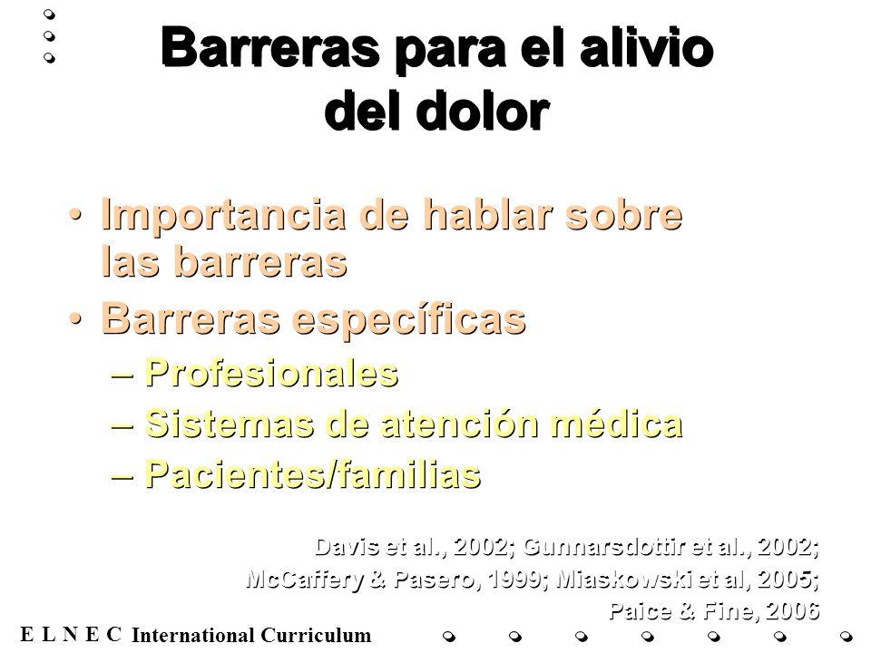 ENECL International Curriculum Barreras para el alivio del dolor Importancia de hablar sobre las barreras Barreras específicas –Profesionales –Sistema