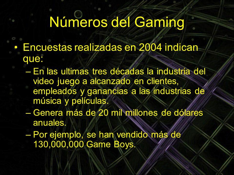 Números del Gaming Encuestas realizadas en 2004 indican que: –En las ultimas tres décadas la industria del video juego a alcanzado en clientes, emplea