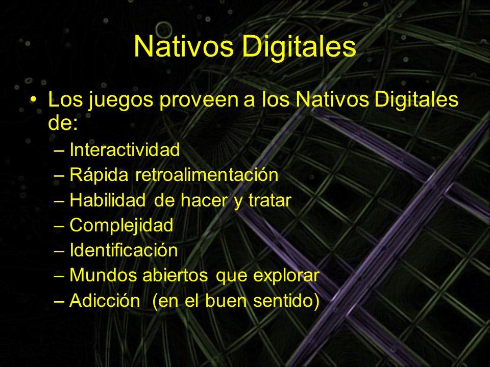 Nativos Digitales Los juegos proveen a los Nativos Digitales de: –Interactividad –Rápida retroalimentación –Habilidad de hacer y tratar –Complejidad –
