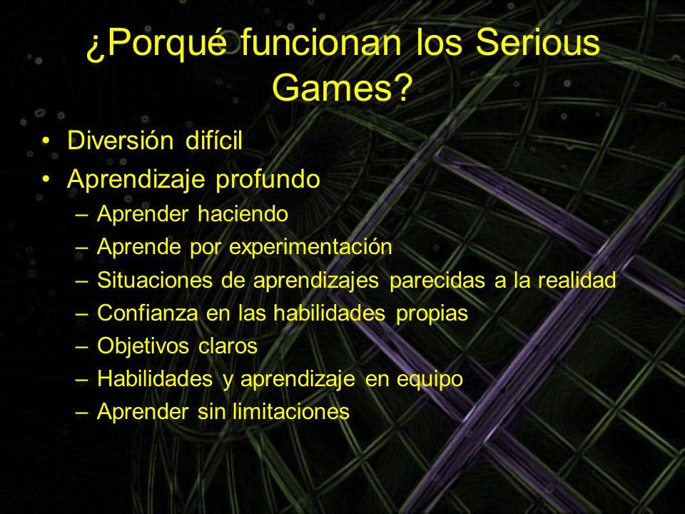 ¿Porqué funcionan los Serious Games? Diversión difícil Aprendizaje profundo –Aprender haciendo –Aprende por experimentación –Situaciones de aprendizaj
