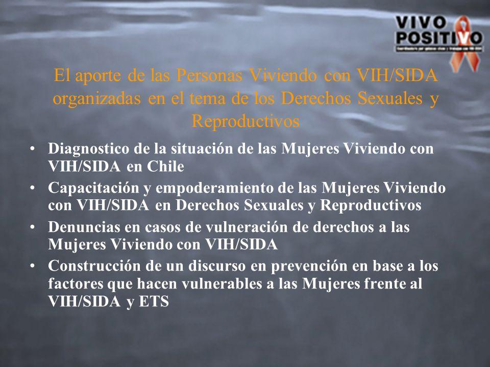 El aporte de las Personas Viviendo con VIH/SIDA organizadas en el tema de los Derechos Sexuales y Reproductivos Diagnostico de la situación de las Mujeres Viviendo con VIH/SIDA en Chile Capacitación y empoderamiento de las Mujeres Viviendo con VIH/SIDA en Derechos Sexuales y Reproductivos Denuncias en casos de vulneración de derechos a las Mujeres Viviendo con VIH/SIDA Construcción de un discurso en prevención en base a los factores que hacen vulnerables a las Mujeres frente al VIH/SIDA y ETS