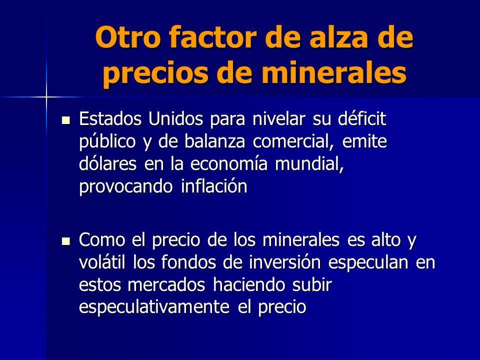Otro factor de alza de precios de minerales Estados Unidos para nivelar su déficit público y de balanza comercial, emite dólares en la economía mundia