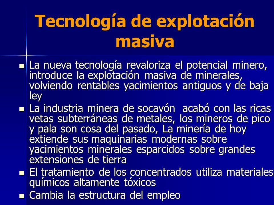 Tecnología de explotación masiva La nueva tecnología revaloriza el potencial minero, introduce la explotación masiva de minerales, volviendo rentables
