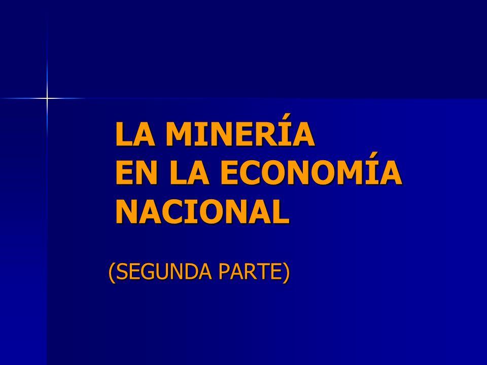 LA MINERÍA EN LA ECONOMÍA NACIONAL (SEGUNDA PARTE)