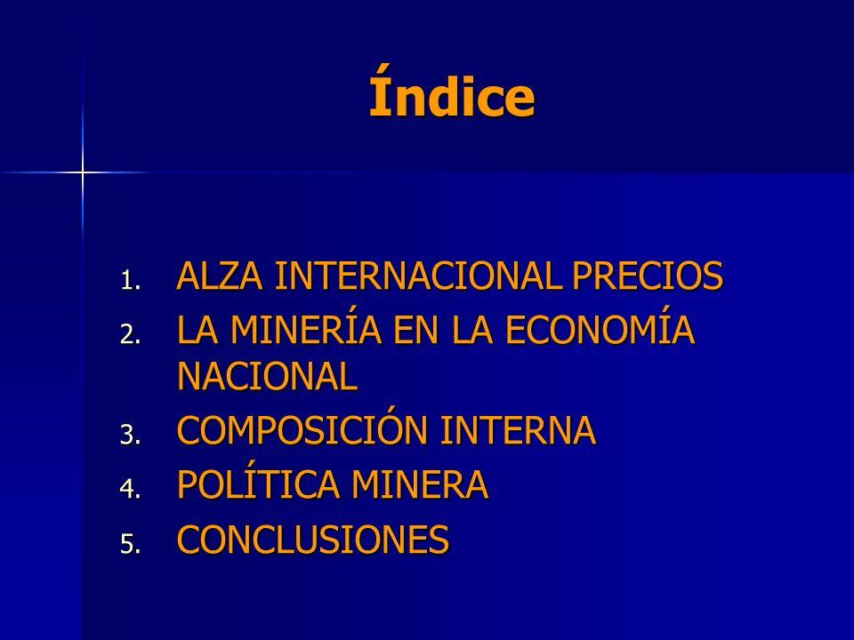 Índice 1. ALZA INTERNACIONAL PRECIOS 2. LA MINERÍA EN LA ECONOMÍA NACIONAL 3. COMPOSICIÓN INTERNA 4. POLÍTICA MINERA 5. CONCLUSIONES