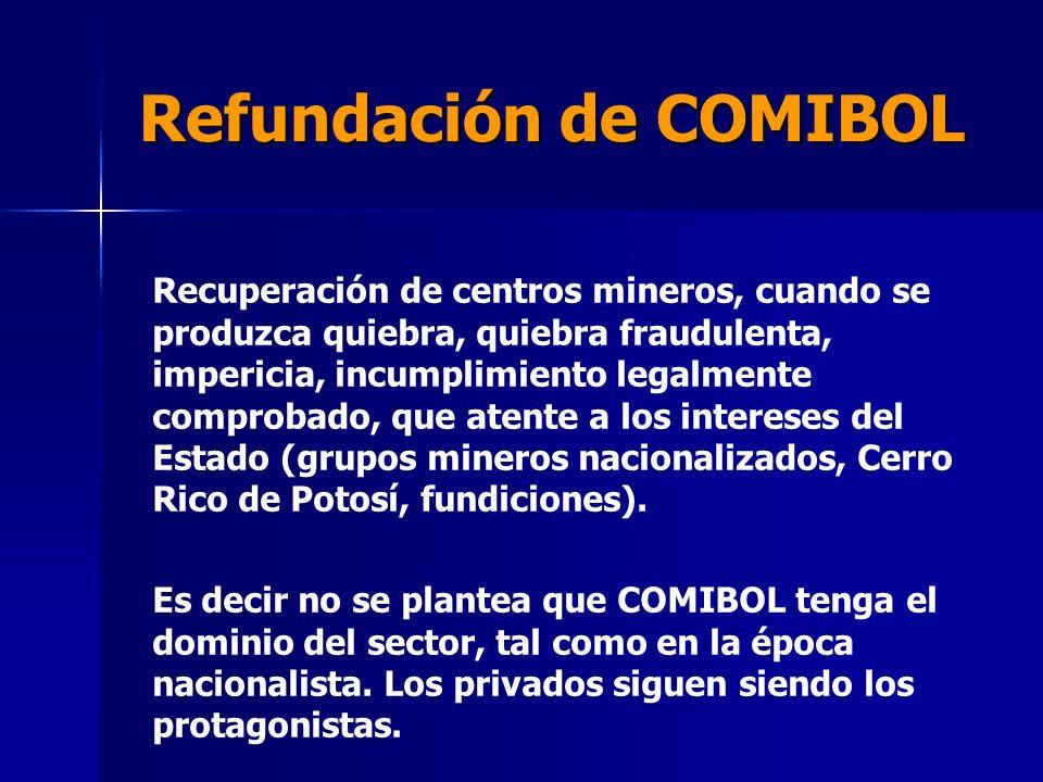 Refundación de COMIBOL Recuperación de centros mineros, cuando se produzca quiebra, quiebra fraudulenta, impericia, incumplimiento legalmente comproba