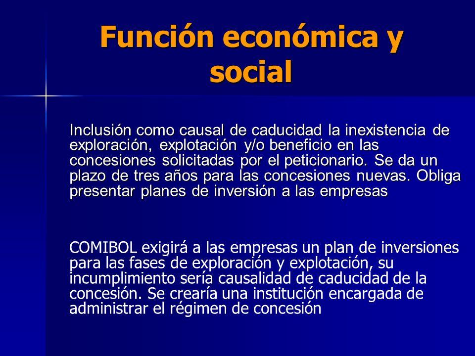 Función económica y social Inclusión como causal de caducidad la inexistencia de exploración, explotación y/o beneficio en las concesiones solicitadas