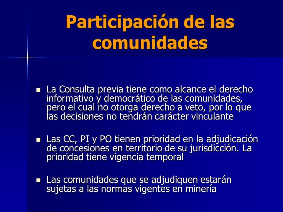 Participación de las comunidades La Consulta previa tiene como alcance el derecho informativo y democrático de las comunidades, pero el cual no otorga