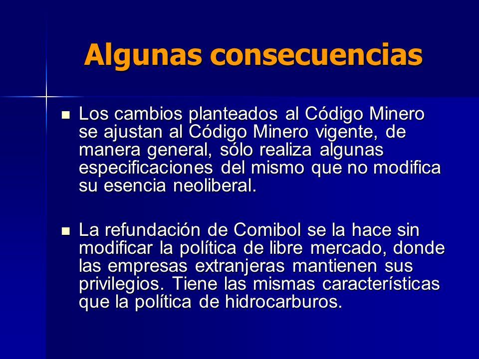 Algunas consecuencias Los cambios planteados al Código Minero se ajustan al Código Minero vigente, de manera general, sólo realiza algunas especificac