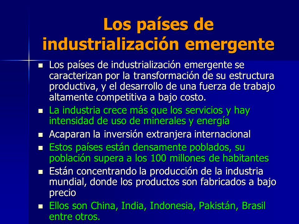 Los países de industrialización emergente Los países de industrialización emergente se caracterizan por la transformación de su estructura productiva,