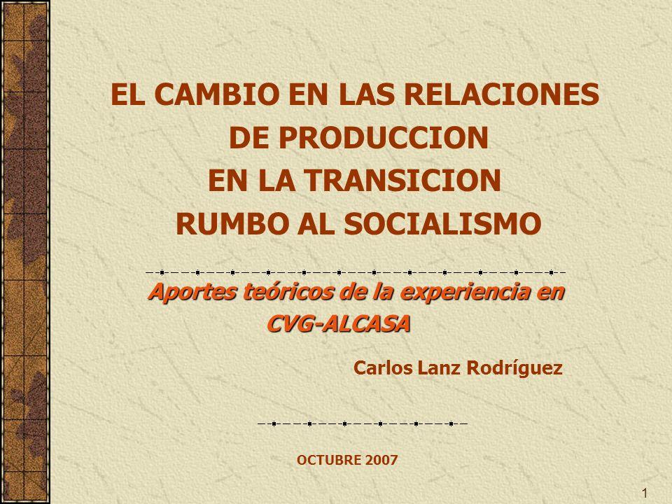 1 OCTUBRE 2007 Carlos Lanz Rodríguez EL CAMBIO EN LAS RELACIONES DE PRODUCCION EN LA TRANSICION RUMBO AL SOCIALISMO Aportes teóricos de la experiencia