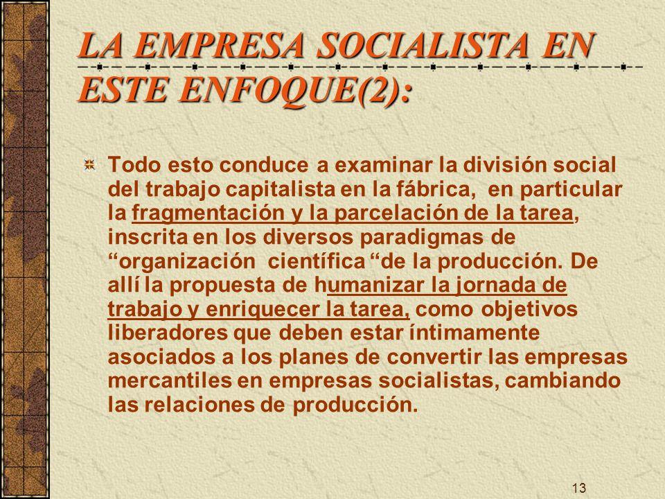 13 LA EMPRESA SOCIALISTA EN ESTE ENFOQUE(2): Todo esto conduce a examinar la división social del trabajo capitalista en la fábrica, en particular la f