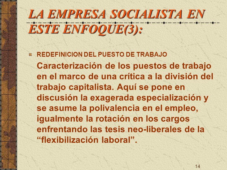 14 LA EMPRESA SOCIALISTA EN ESTE ENFOQUE(3): REDEFINICION DEL PUESTO DE TRABAJO Caracterización de los puestos de trabajo en el marco de una crítica a