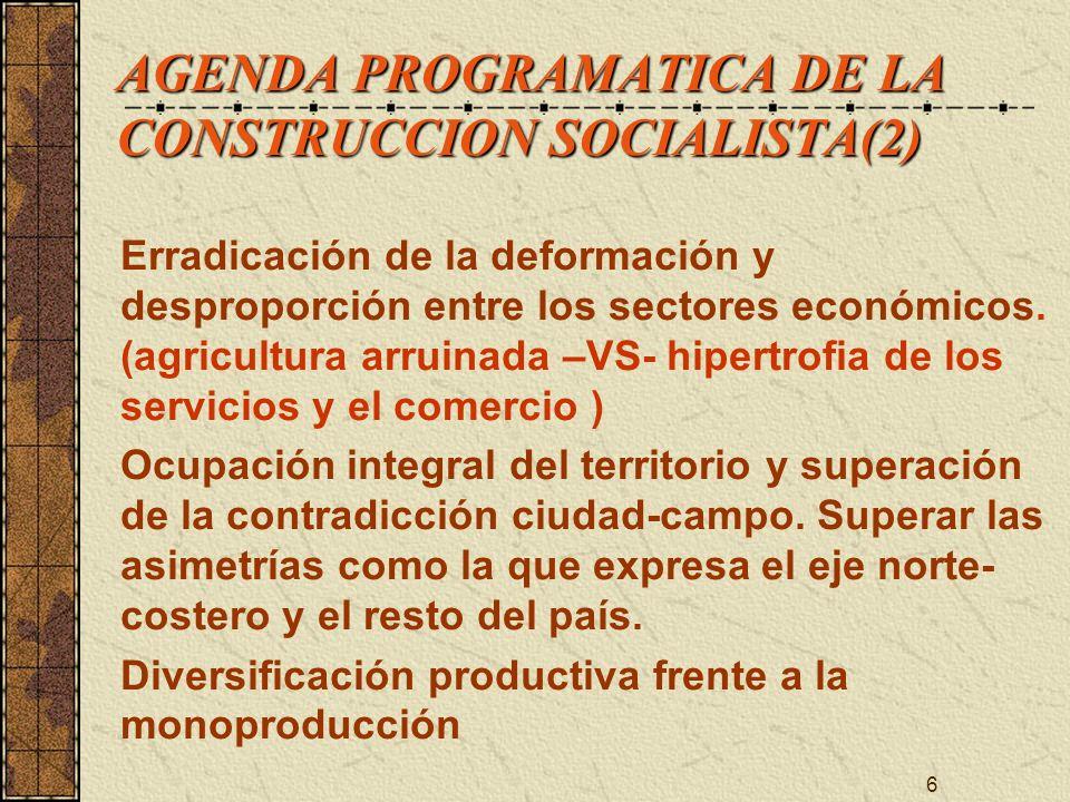 6 AGENDA PROGRAMATICA DE LA CONSTRUCCION SOCIALISTA(2) Erradicación de la deformación y desproporción entre los sectores económicos. (agricultura arru