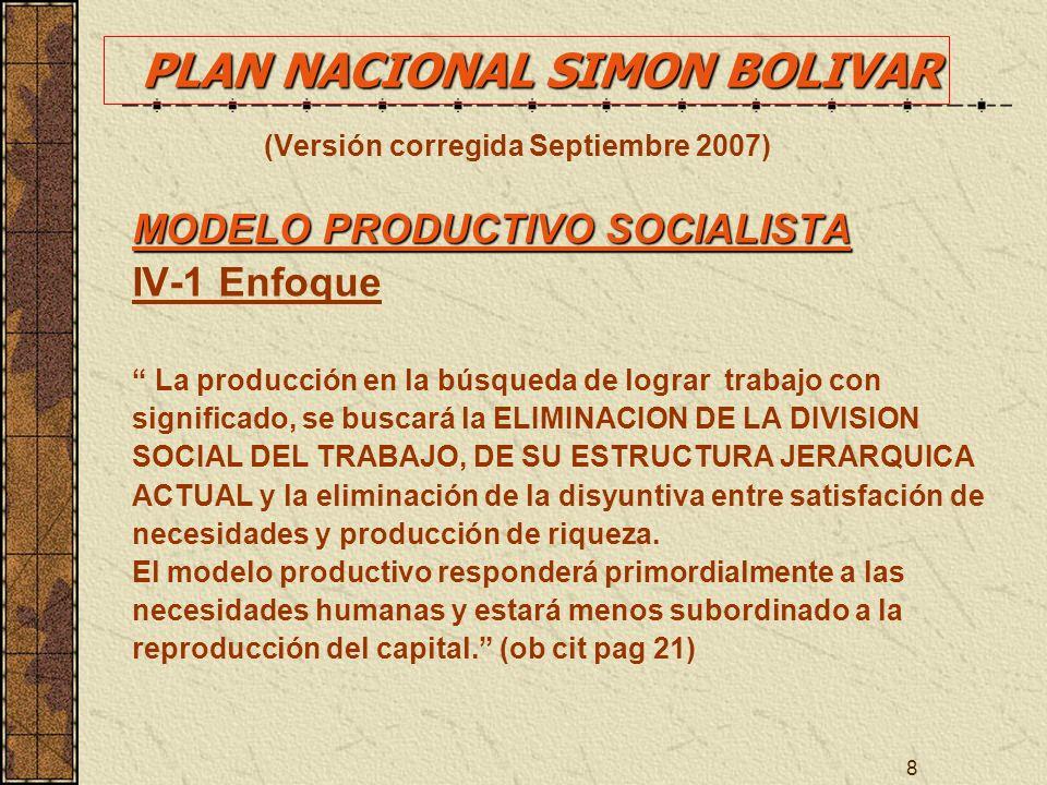 8 (Versión corregida Septiembre 2007) MODELO PRODUCTIVO SOCIALISTA IV-1 Enfoque La producción en la búsqueda de lograr trabajo con significado, se bus