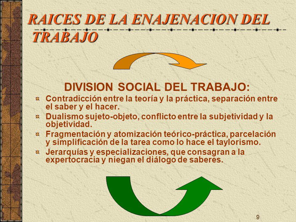 9 RAICES DE LA ENAJENACION DEL TRABAJO RAICES DE LA ENAJENACION DEL TRABAJO DIVISION SOCIAL DEL TRABAJO: Contradicción entre la teoría y la práctica,