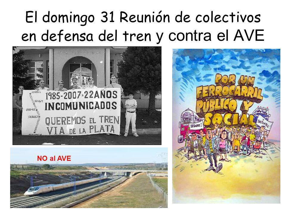 El domingo 31 Reunión de colectivos en defensa del tren y contra el AVE NO al AVE