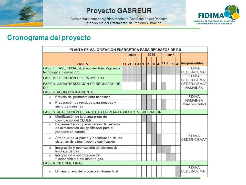 Proyecto GASREUR Aprovechamiento energético mediante Gasificación del Rechazo procedente del Tratamiento de Residuos Urbanos Cronograma del proyecto