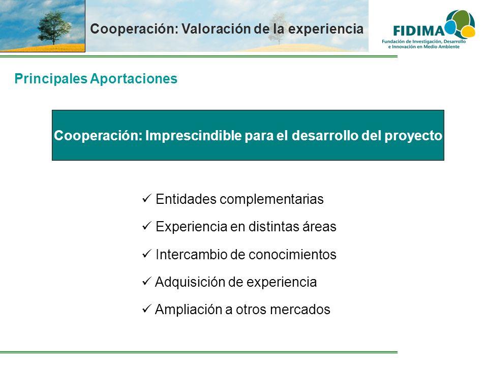 Cooperación: Valoración de la experiencia Principales Aportaciones Entidades complementarias Experiencia en distintas áreas Intercambio de conocimient