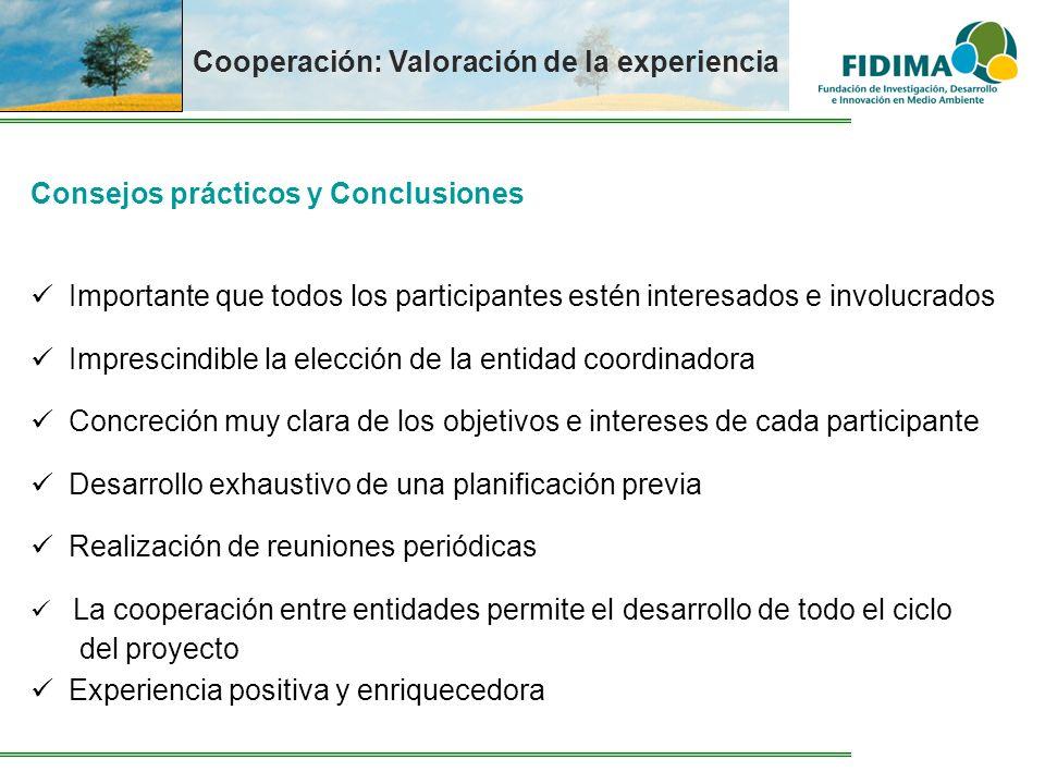 Cooperación: Valoración de la experiencia Consejos prácticos y Conclusiones Importante que todos los participantes estén interesados e involucrados Im