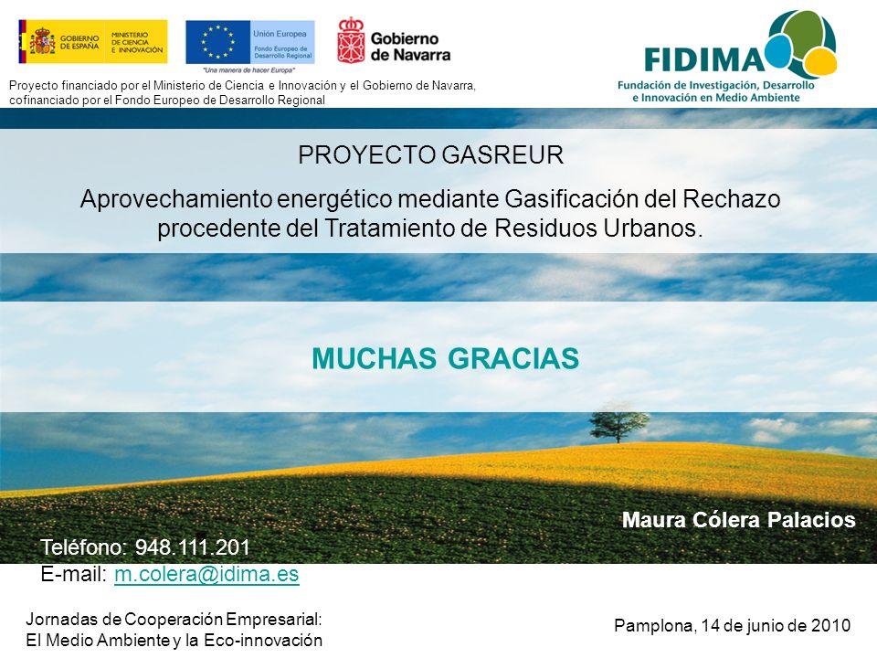 Jornadas de Cooperación Empresarial: El Medio Ambiente y la Eco-innovación Maura Cólera Palacios Proyecto financiado por el Ministerio de Ciencia e In
