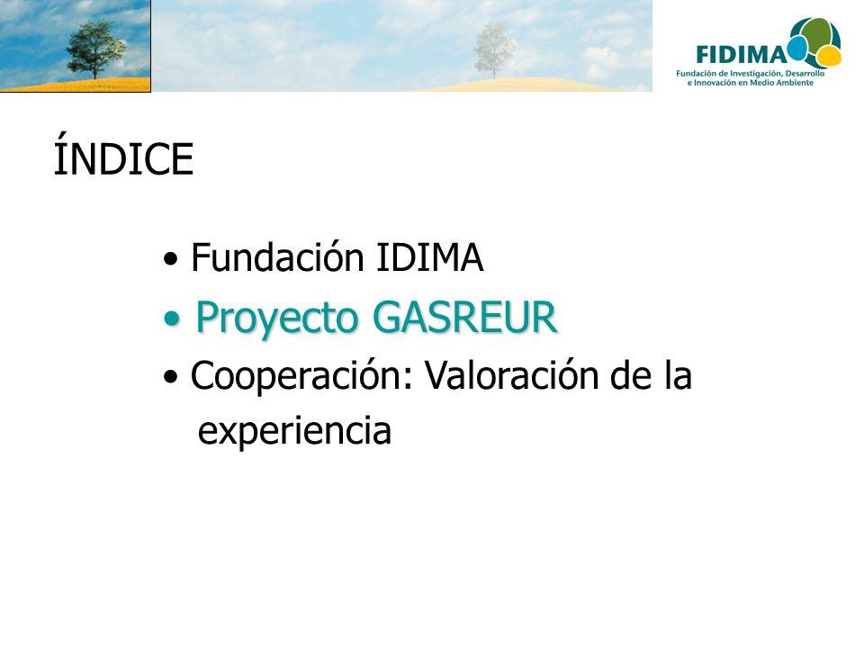 ÍNDICE Fundación IDIMA Proyecto GASREUR Proyecto GASREUR Cooperación: Valoración de la experiencia