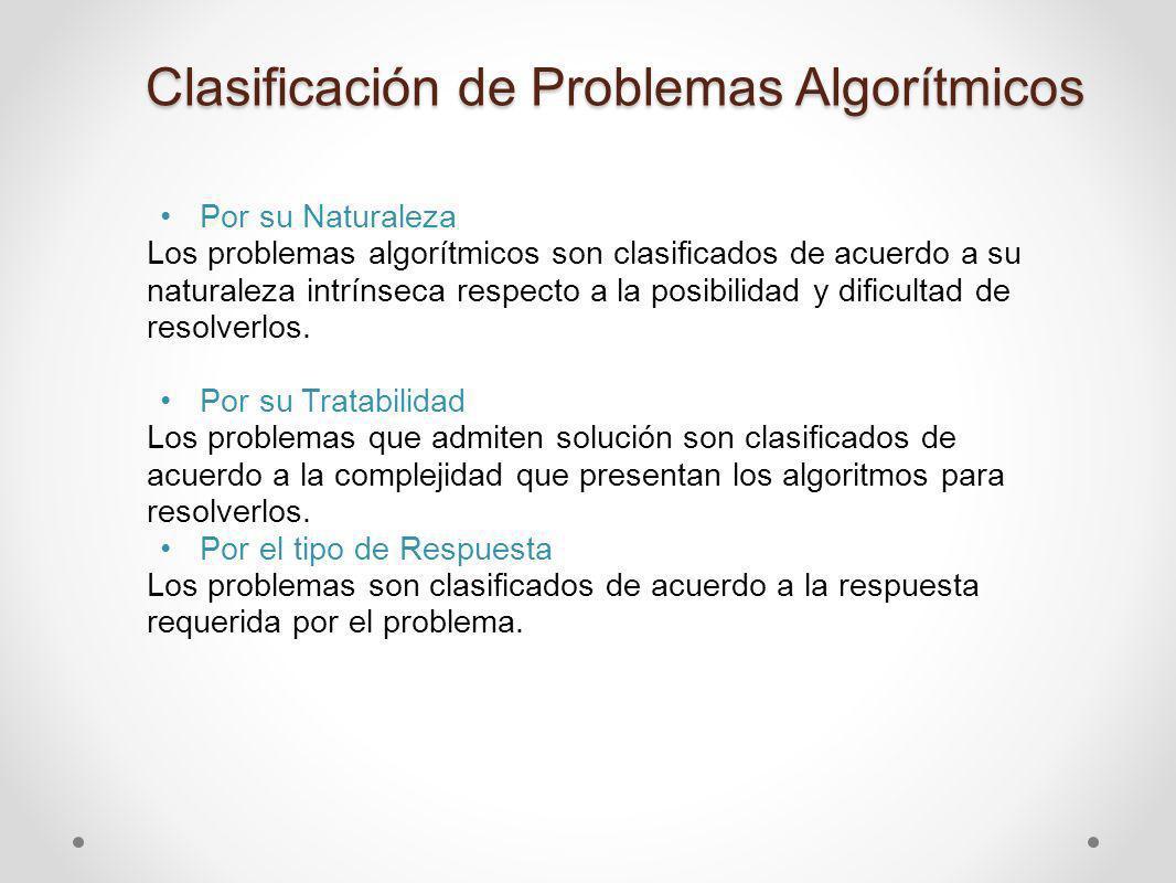 1.- Clasificación por su Naturaleza Los problemas de naturaleza algorítmica que no admiten solución por algoritmo son llamados no - computables.