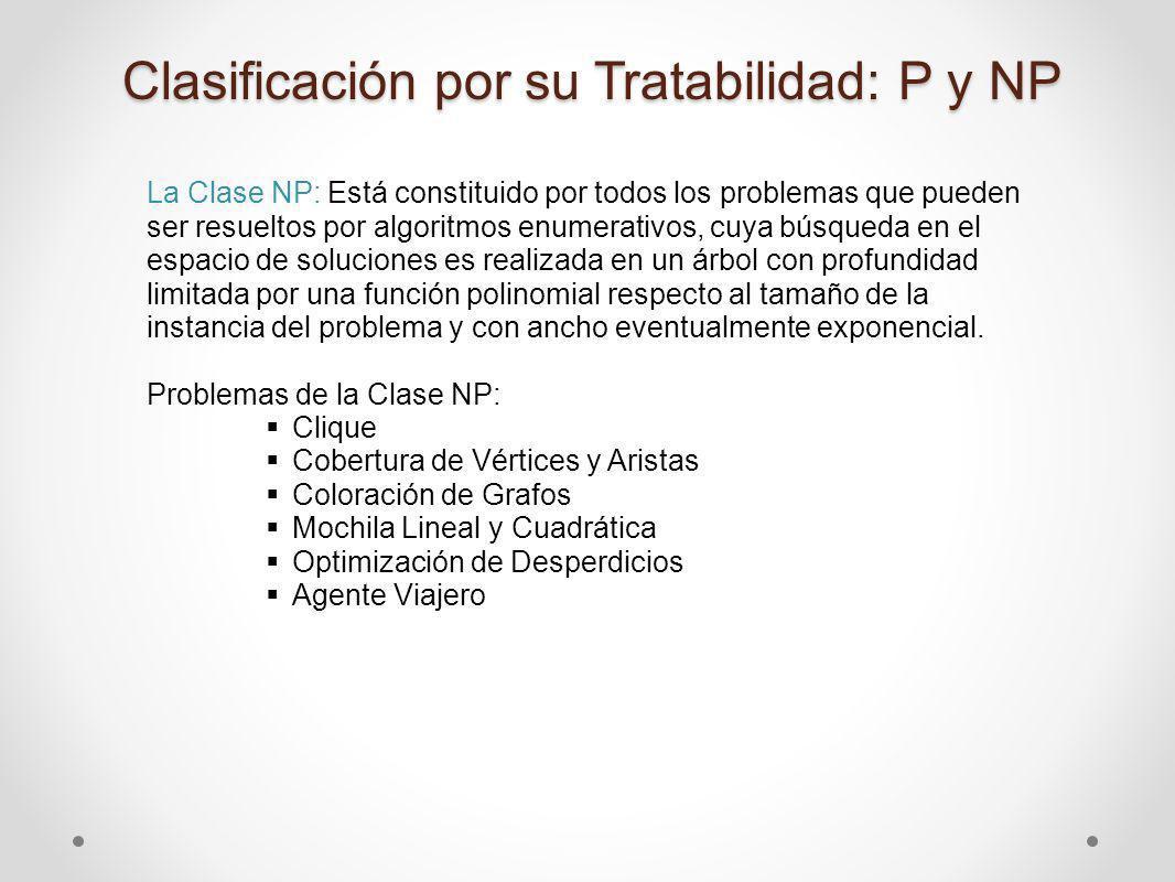La Clase NP: Está constituido por todos los problemas que pueden ser resueltos por algoritmos enumerativos, cuya búsqueda en el espacio de soluciones