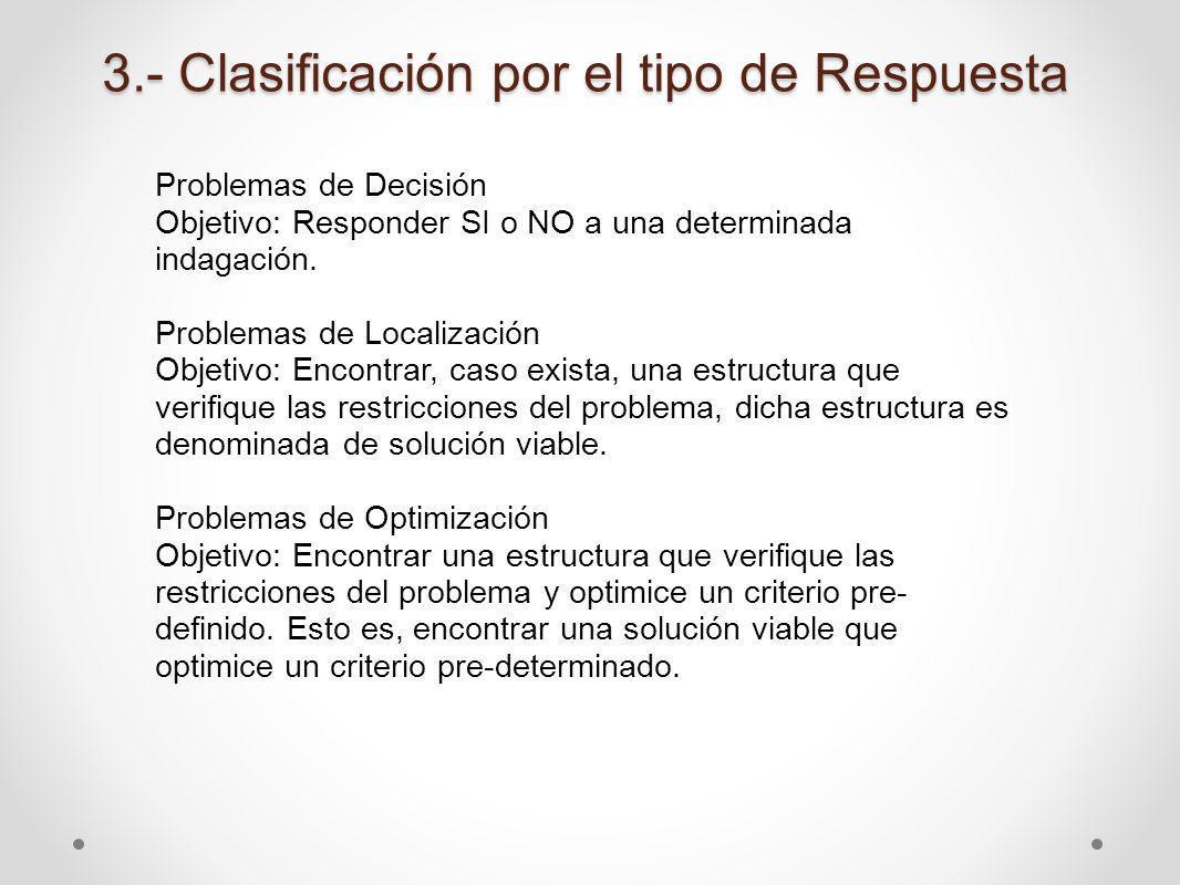 3.- Clasificación por el tipo de Respuesta Problemas de Decisión Objetivo: Responder SI o NO a una determinada indagación. Problemas de Localización O