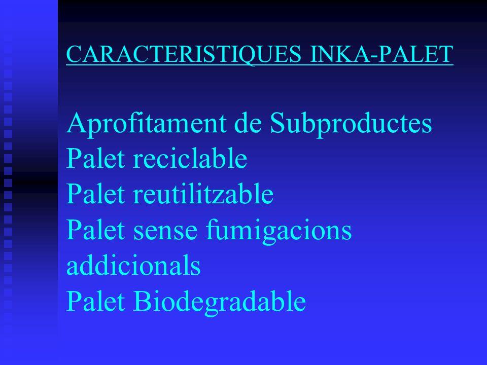 CARACTERISTIQUES INKA-PALET Aprofitament de Subproductes Palet reciclable Palet reutilitzable Palet sense fumigacions addicionals Palet Biodegradable