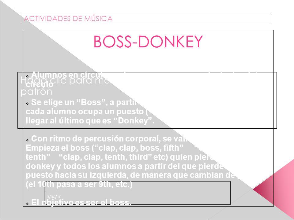 Haga clic para modificar el estilo de subtítulo del patrón 3/06/10 ACTIVIDADES DE MÚSICA BOSS-DONKEY Alumnos en círculo, cada uno ocupa un puesto dentro del círculo Se elige un Boss, a partir de esa persona hacia la derecha cada alumno ocupa un puesto (second, Third….) hasta llegar al último que es Donkey.