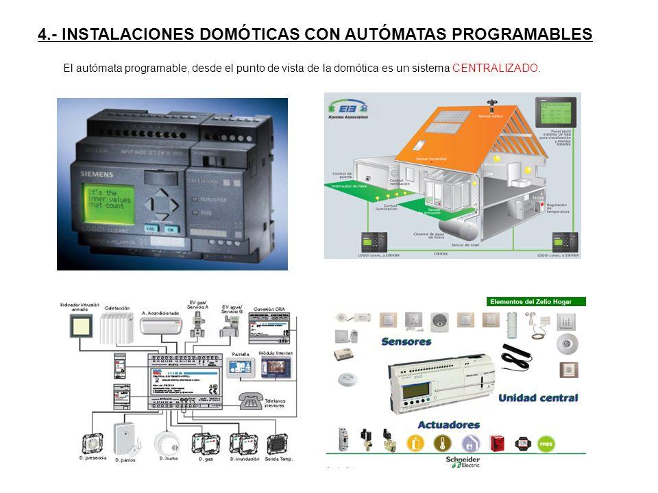 4.- INSTALACIONES DOMÓTICAS CON AUTÓMATAS PROGRAMABLES El autómata programable, desde el punto de vista de la domótica es un sistema CENTRALIZADO.