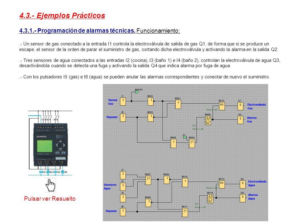 4.3.- Ejemplos Prácticos 4.3.1.- Programación de alarmas técnicas. Funcionamiento:.- Un sensor de gas conectado a la entrada I1 controla la electrovál