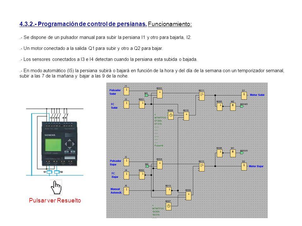 4.3.2.- Programación de control de persianas. Funcionamiento:.- Se dispone de un pulsador manual para subir la persiana I1 y otro para bajarla, I2..-