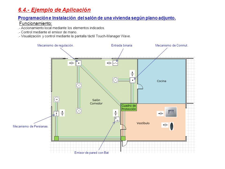 6.4.- Ejemplo de Aplicación Programación e Instalación del salón de una vivienda según plano adjunto. Funcionamiento:.- Accionamiento local mediante l