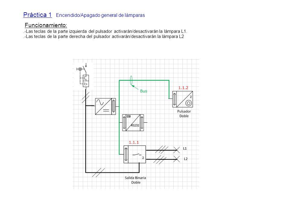 Práctica 1 Encendido/Apagado general de lámparas Funcionamiento:.-Las teclas de la parte izquierda del pulsador activarán/desactivarán la lámpara L1..