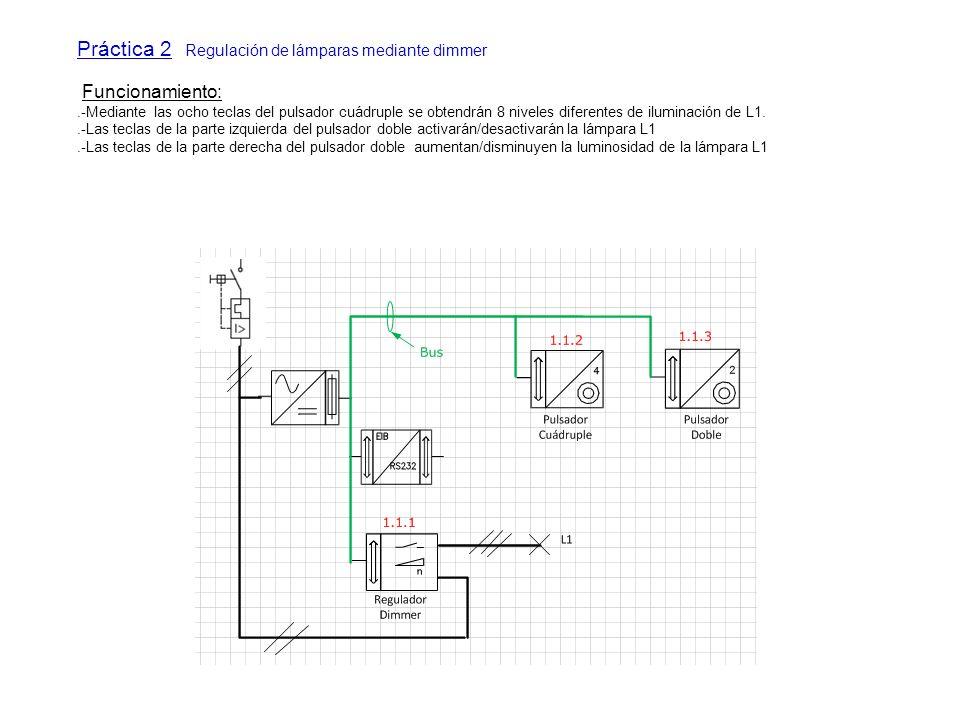 Práctica 2 Regulación de lámparas mediante dimmer Funcionamiento:.-Mediante las ocho teclas del pulsador cuádruple se obtendrán 8 niveles diferentes d